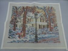 "Candamar Needlepoint Canvas 19.5 x 15.5"" 30550 Winter Scene House Mailbox Snow"