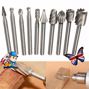 10x HSS Routing Wood Carving Tools Rotary Drill File Router Bit For Dremel