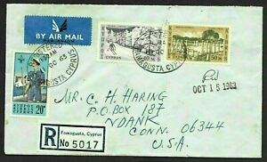 Cyprus Registered Airmail Cover Famagusta to USA 1963