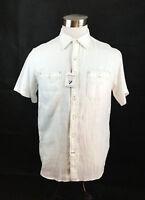 Cremieux Shirt Mens Medium White NWT 100% Linen Stitching Button Up Short Sleeve