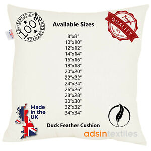 Duck Feather White Cushion Pads Inner Stuff Insert Square 100% Cotton Down Proof