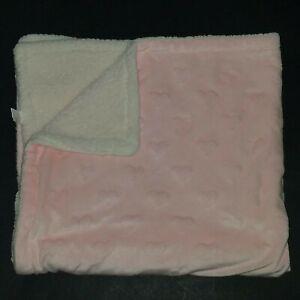 Modern Baby Pink Embossed Hearts Fleece Baby Blanket Security Lovey Girls White