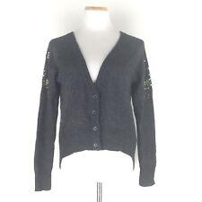 Womens Uo Silence+Noise Size S Angora Wool Long Sleeves Cardigan Gray Embellish