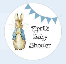 Personalised round Peter Rabbit baby shower stickers thank you for coming Favour