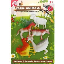 8pc Large Big Farm Animals Plastic Toys Model Playsets Cow Chicken Horse Figures