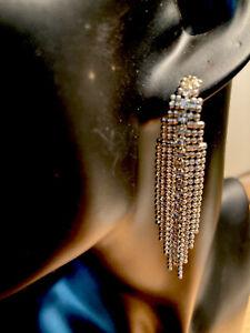 Long silver-tone tassel chain and diamonte earrings (pierced) E010