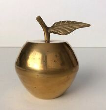 Vintage Small Brass Apple with Leaf Trinket Box made in India