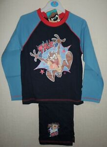BOYS OFFICIAL LOONEY TUNES 'TAZ' LONG LEG  PYJAMAS AGES 4-5 up to 9-10 YEARS