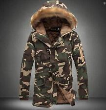 New Men's Winter Thick Camo Jacket Coat Fur Collar Hooded Cotton Overcoat Parka