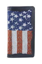 BLACK VEGAN LEATHER AMERICAN FLAG MENS RODEO LONG BIFOLD WALLET WEST WOLF