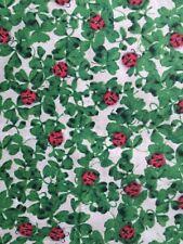 "Ladybugs on Clover Green - St Pat's Print Cotton Fabric - .8 Yard x 43"""