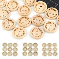 100PCS Round Wooden Buttons Handmade Love Letter Wood Button Craft DIY Sewing