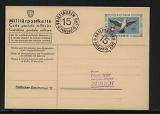 Switzerland  feldpost  card  soldier stamp,  Dove 1939              MS1121