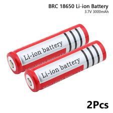 2Pcs BRC 18650 Batería 3.7V 3000mAh Recargable Linterna e Puntero Láser Para Celular