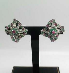 Emerald and Ruby Fabulous Large Vintage Silver Earrings Gemset Floral Jewellery