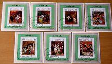 Art Ajman Manama 1970 Set Of 7 Imperforate Stamp Sheets VFU