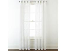 """JCP Home Serene Embroidery Sheer Grommet One Curtain Panel 50"""" x 84'L Cool White"""