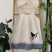 Tree Of Life Womens Cream Blue Tie Dye Bird Shift Summer Mini Dress Size S Boho