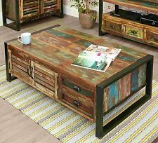 Urban Chic reclaimed indian wood furniture storage coffee table with drawers