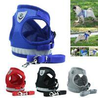 Mesh Reflective Dog Harness Vest Adjustable Pet Puppy Walking Lead Leash nw