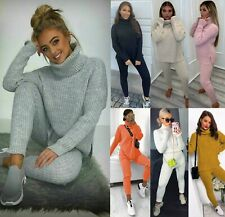 Women's Ladies Chunky Knitted High Roll Neck Top Bottom Loungewear Tracksuit Set