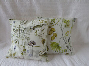 "2 Cushion Covers 14"" Green Brown Grey Butterfly Wild Flower Bird Handmade 40cm"