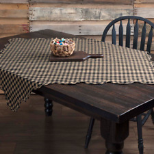 "New Primitive Farmhouse TAN BLACK CHECKED TABLE TOPPER Table Cloth 60""x 60"""