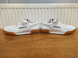 """Reebok Classic """"Workout Plus"""" Men's Leather White Trainers Size 8uk"""
