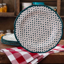 PIONEER WOMAN Stoneware Retro Dots Teal Green White Dinner Plates- Set of Two