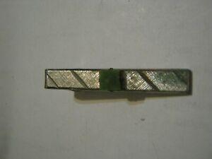 """Vintage DANTE' Silver Tone 1 3/4"""" Tie Clip w/ Emerald Square"""