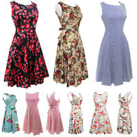 Vintage 50s 60s Retro Style Rockabilly Pinup Housewife Party Swing Floral Dress