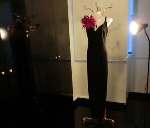 Frederick Sexy Black Long Maxi Gown with Shocking Pink Chifffon Trimming