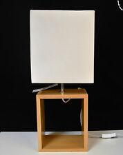 Wood Cube Table Lamp Cream Shade