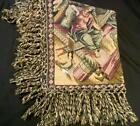 """VINTAGE FRINGED TAPESTRY, WALL HANGING, THROW, MIDDLE EAST DESERT SCENES 66""""X68"""""""