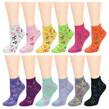 12 Pairs Music Notes Women Socks 9-11 Assorted Colors