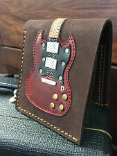 Angus Young AC/DC Real Leather Wine Red Mens Guitar Wallet w/ Guitar Pick Holder