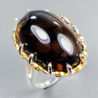 Handmade35ct+ Natural Smoky Quartz 925 Sterling Silver Ring Size 8/R124162