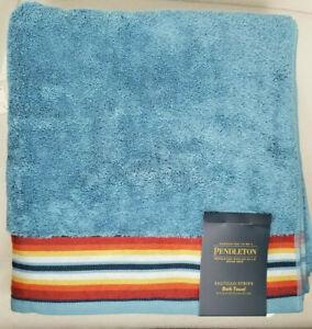 Pendleton Bathroom Towel Set 2 Bath Towels Blue Saltillo Stripe 30 x 54