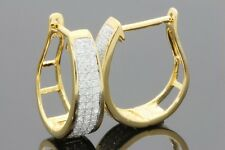 .45 CARAT WOMENS LADIES YELLOW GOLD FINISH DIAMOND HOOPS EARRINGS HUGGIE STUDS
