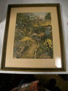 "Vtg Wallace Nutting, ""A Garden of Larkspur"". Orig Wood Frame. Hand colored."