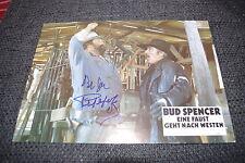 Bud Spencer & Riccardo Pizzuti Signed Autographs on 20x30 cm Photo InPerson RARE