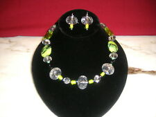 Multi  shades of green earring and necklace set