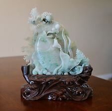 Nice  Hand  Carved  Chinese  Jadeite  Statue  With  Wood  Stand