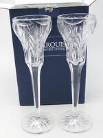 Pair Waterford Marquis Canterbury Candle Sticks Clear Cut Crystal 8.5in w box