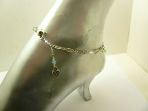 Sterling Silver Swarovski Crystal Marcasite Heart Ankle Bracelet