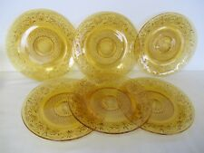 "6 VINTAGE INDIANA GLASS CO. TOPAZ AMBER DAISY 8 3/8"" LUNCHEON PLATES"