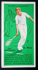 Vintage Tennis Technique Tips   Mako    Original 1930's Action Card # VGC