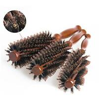 Round Wooden Handle Hairdressing Boar Bristle Curling Hair Comb Brush OO