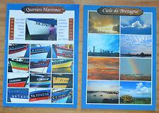 Lot de 2 cartes postales des ports et ciels de Bretagne, bon état