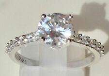 1.50 Ct Round Solitaire Diamond Wedding Ring 14K Solid White Gold Rings Size 6